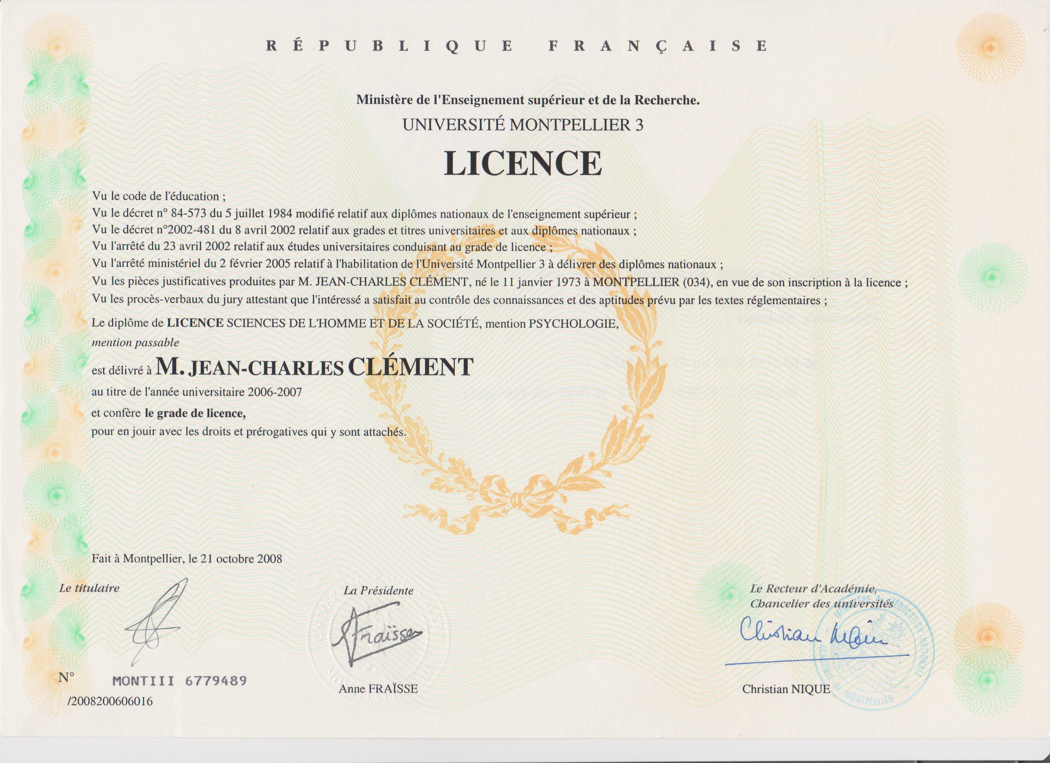 diplome de licence
